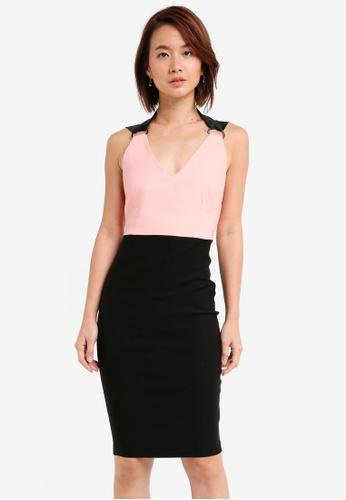 Vesper black and pink Vesper Elisha Strap Detail Colourblock Midi Dress 57D30AA510BBCFGS_1