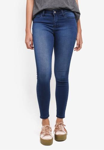 Penshoppe blue Power Stretch Mid Waist Jeans 7FD02AA1EB6291GS_1