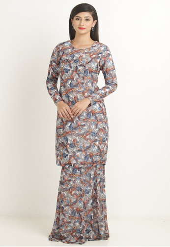 Kurung Modern Princess Cut in Grey with Multicolour Floral Print from Nadzri Morshidi in Grey