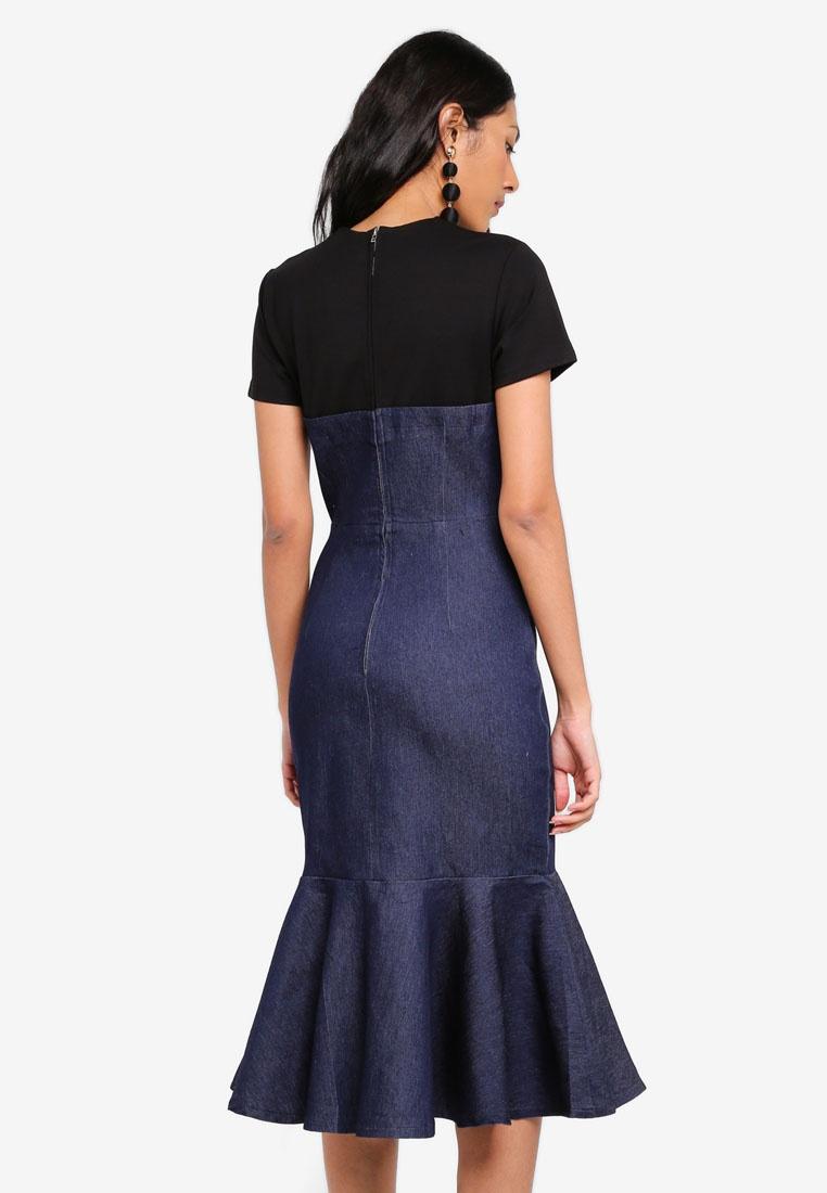 In Denim Denim Dress Lapel Flap Over MDSCollections n4TwxY