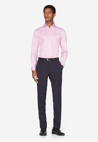 T.M. LEWIN pink T.M.Lewin Slim Fit Stripe Pink Button Cuff Shirt 1B37EAA77493EFGS_1