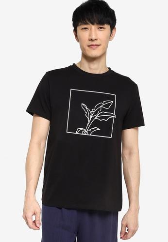 ZALORA BASICS black Framed Foliage Graphic T-Shirt E9A3DAA8BDACEEGS_1