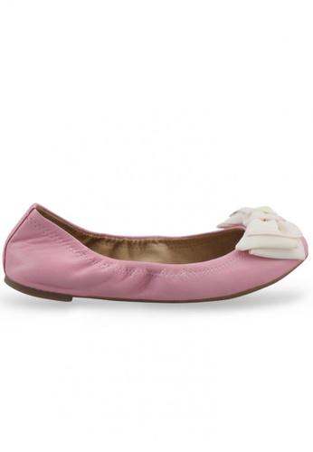Shu Talk pink Nappa Round Toe Ballet Flats With Fabric Bow SH617SH2USCXHK_1