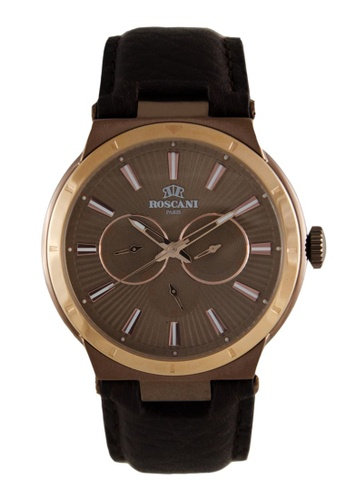 Roscani gold Roscani Mark M 912M (Multifunction + WR 5ATM) Rose Gold Brown Leather Men Watch 3CA40AC461A246GS_1
