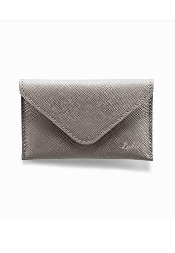 Crudo Leather Craft grey Senz'altro Name Card Holder - Saffiano Gray 91D1CACDBE3FC3GS_1
