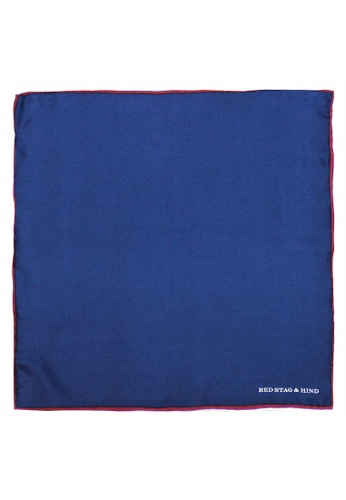 Red Stag And Hind blue Red Stag And Hind Red and Blue Shoestring Silk Pocket Square 68E2FAC1F2CD22GS_1