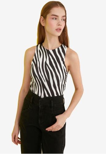Trendyol black Printed Sleeveless Knitted Bodysuit 3F33FAAFA510F0GS_1