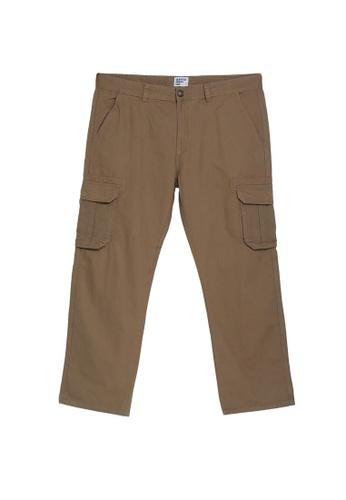 Electro Denim Lab brown Plus Size Straight Cut Cargo Pants F7193AA46D4D4DGS_1