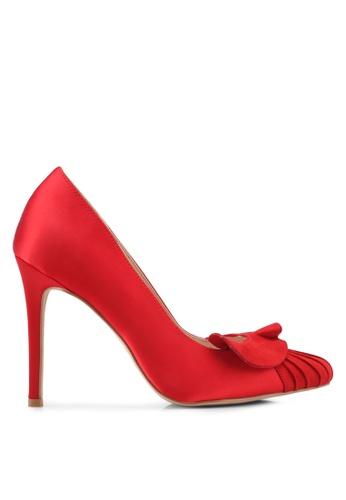 Velvet 紅色 Satin Heel with Ruffle 03641SHA3ED39BGS_1
