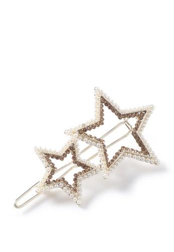London Rag gold Faux Pearl and Rhinestone 2 Star Hair Clip in Silver Finish 23319AC0DFF0EDGS_1