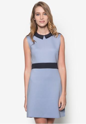 撞色領修身傘狀洋裝zalora時尚購物網的koumi koumi, 服飾, 洋裝