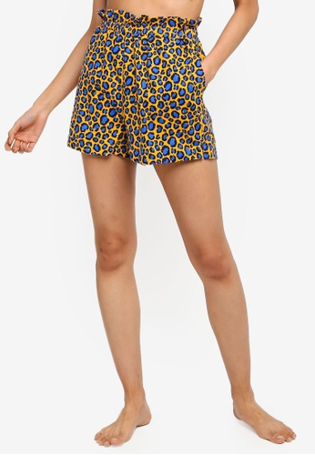 Cotton On Body yellow and blue Flannel Paperbag Waist Shorts EF253AABDE0382GS_1