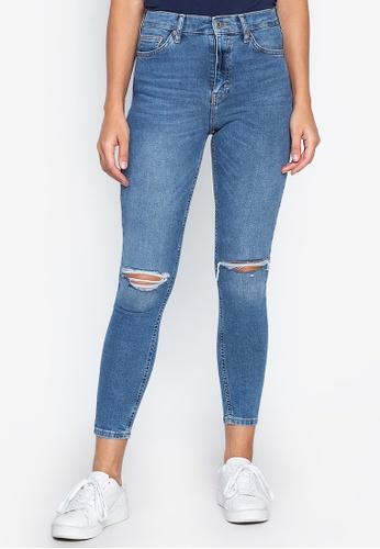 dbf23f4e95ac TOPSHOP blue Mid Blue Rip Hem Jamie Jeans (Regular Fit) 8821EAA71A5D25GS 1