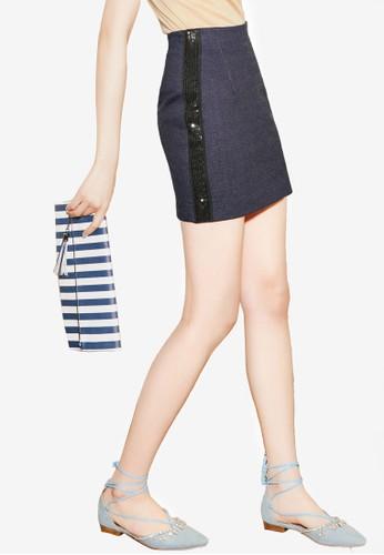 NAIN navy Sequined Skirt DE4B8AA93BBFF7GS_1