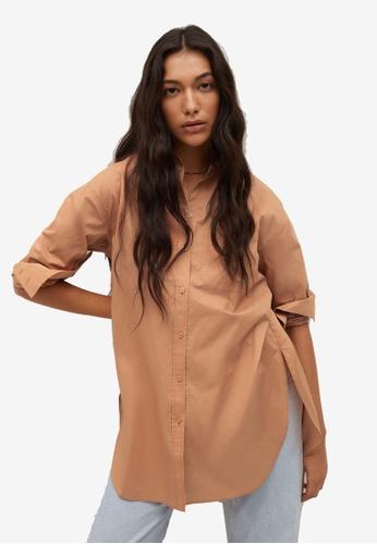 Mango 褐色 Chest-Pocket Cotton Shirt 35AA9AA183ADCDGS_1