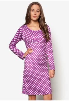 Purple Polka Long Sleeves Dress