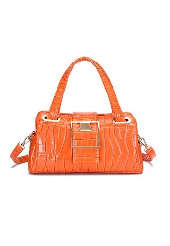 Lara orange Women's Glossy Crocodile Skin Embossed Leather Handbag Shoulder Bag - Orange 8DBE1AC37511A2GS_1