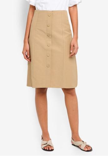 Shopsfashion beige Button Up Flare Midi Skirt D0DEBAA8F81BCDGS_1