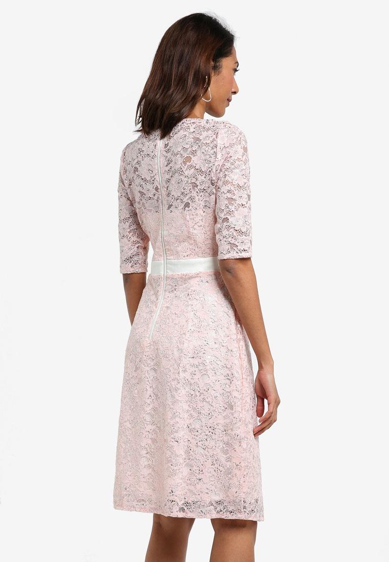 Vesper Pink Full Lace Dress Ellery Foil Metallic Midi Skirt Lace W6YRqcOfw