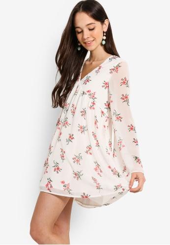 Something Borrowed white Long Sleeves Babydoll Swing Dress 4B852AAB73E416GS_1