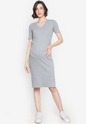BUNTIS grey Eda Maternity Straight Dress V-Neck A8D24AA18FA675GS_1