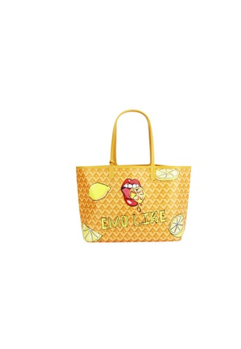 EMO yellow Korean fashion Brand‧Canine Graffiti Pattern Totebag (Large)- Yellow 0065EAC8568655GS_1
