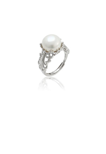 Glamorousky white 925 Sterling Silver Fashion Elegant Hollow Pattern Freshwater Pearl Adjustable Ring 50210AC262AD52GS_1