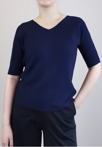 SUB blue Women V-Neck Knit Top 85681AA49E5564GS_1