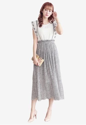 Yoco white Pleated Floral Pinafore Skirt CA8FDAA1B924E8GS_1