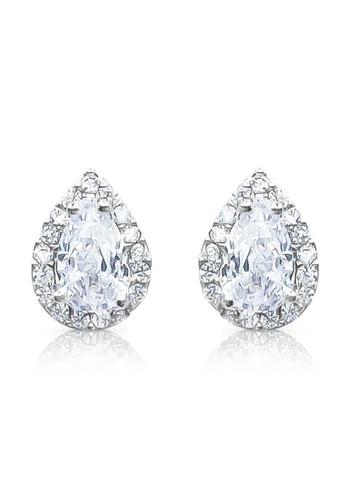 SO SEOUL silver Halo Pear Cut Diamond Simulant Stud Earrings AA3F0AC73E9785GS_1