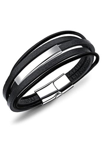 YOUNIQ black YOUNIQ Titanium Steel 3 Layer Genuine Leather Men Bracelet 5CD15AC2643C1DGS_1