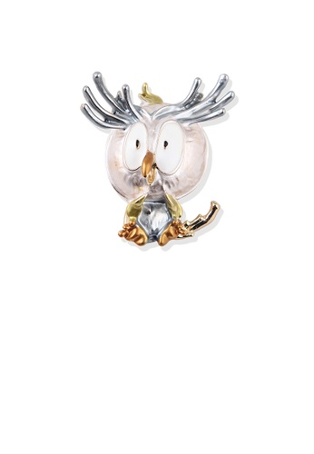 Glamorousky silver Fashion Cute Plated Gold Cartoon White Owl Brooch 866C3ACCFB551FGS_1