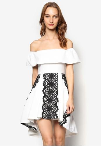 蕾絲飾salon esprit 香港荷葉露肩領連身裙, 服飾, 洋裝