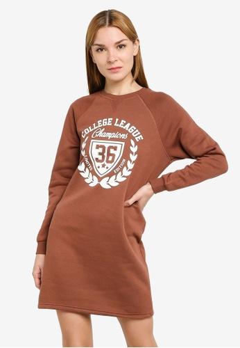JACQUELINE DE YONG brown Venus Print Sweat Dress E6718AAA0D013DGS_1