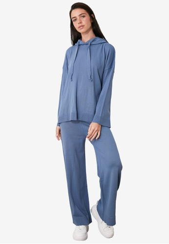 Trendyol blue Hooded Sweater Top-Bottom Suit 5BAE1AA5A13680GS_1