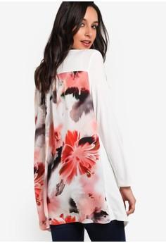 【ZALORA】 背面花卉圖案拼接罩衫