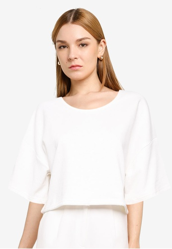 Trendyol white Drawstring Cropped Knit Top FEF6FAAD526142GS_1