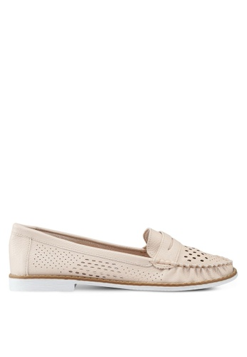 BETSY 米褐色 荔枝皮雕紋樂福鞋 0C824SH55C5F4EGS_1
