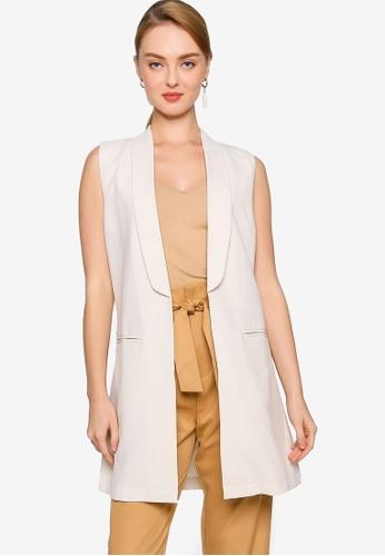 ZALORA WORK beige Longline Waistcoat C41B5AA5F2C3E6GS_1