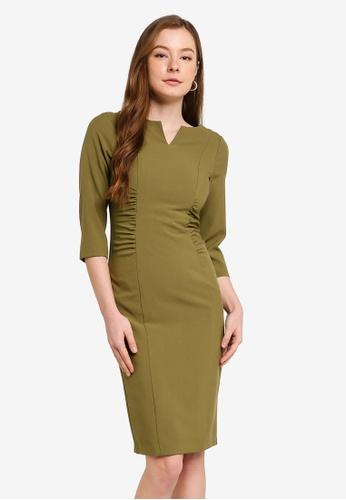 Dorothy Perkins green Khaki Rucched Waist Dress 5DF75AA3F8483EGS_1
