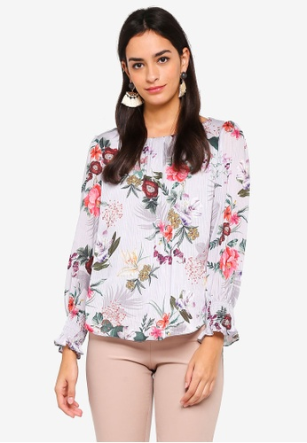 Wallis grey Petite Grey Floral Print Long Sleeve Blouse CFA02AABB8B304GS_1