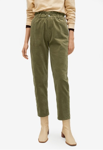Mango green Elastic Waist Cotton Trousers 11BB2AA3022236GS_1