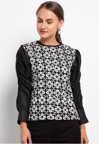 Vestiti black and white Blouse Batik Kombinasi Polos Mutia 4783AAA6498AB9GS_1