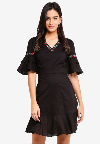 ZALORA black Embroidered V Neck Ruffle Detail Dress 6B3A1AAB989826GS_1