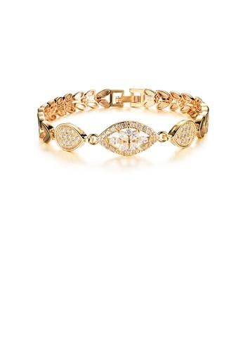 Glamorousky white Fashion Elegant Plated Gold Geometric Flower Cubic Zirconia Wheat Bracelet 3B8C2AC64691D8GS_1