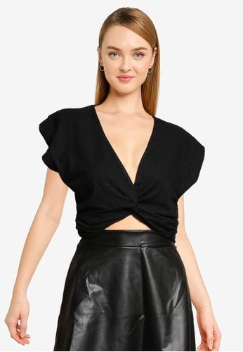 Miss Selfridge black Black Short Sleeve Twist Front Top 16255AA56B5D4FGS_1