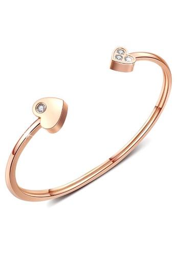 Bullion Gold gold BULLION GOLD Heart Love Open Cuff Bangle in Rose Gold Layered Steel Jewellery F86BAACA244632GS_1