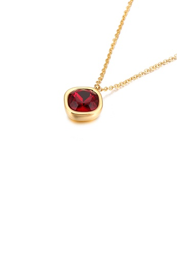 Glamorousky 紅色 簡約時尚鍍金色幾何方塊紅色鋯石316L鋼吊墜配項鏈 6C078AC7D7A8BDGS_1