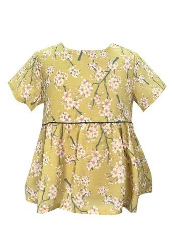 MINI PINK Mini Pink Girls Mustard Yellow Floral Peplum Short Sleeves Blouse E628BKAF08DBBAGS_1