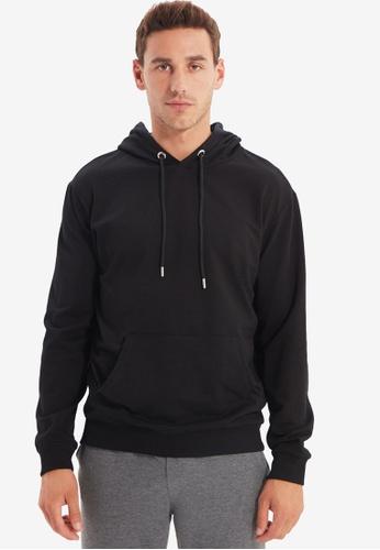 Trendyol black Black Hoodie Sweatshirt C59F3AAB6BCED8GS_1